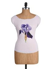 White Top With Flower Print - Alibi