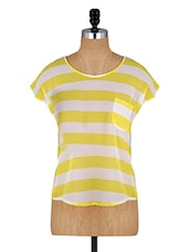 White And Yellow Striped Top - Alibi