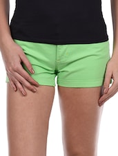 Solid Green Cotton Lycra Shorts - Alibi