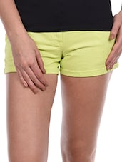 Lime Yellow Cotton Lycra Shorts - Alibi
