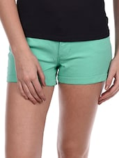 Plain Sea Green Cotton Lycra Shorts - Alibi