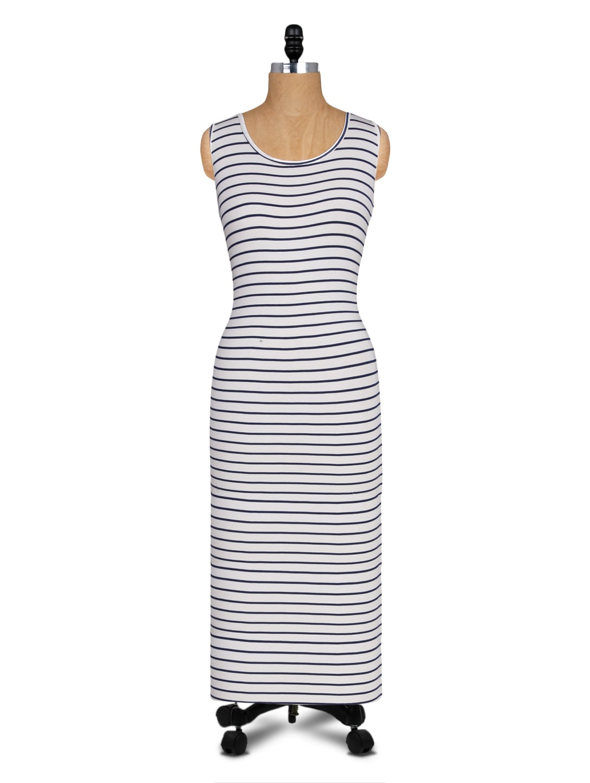 White And Black Striped Long Dress - Alibi