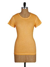 Round Neck Short Sleeves Yellow Cotton Top - Amari West