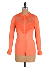 Orange Lacy Full-sleeved Viscose Top - Amari West
