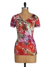 V Neck Short Sleeves Floral Print Viscose Tee - By