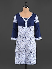 Navy Blue & White Printed Cotton Kurti - LINGRA