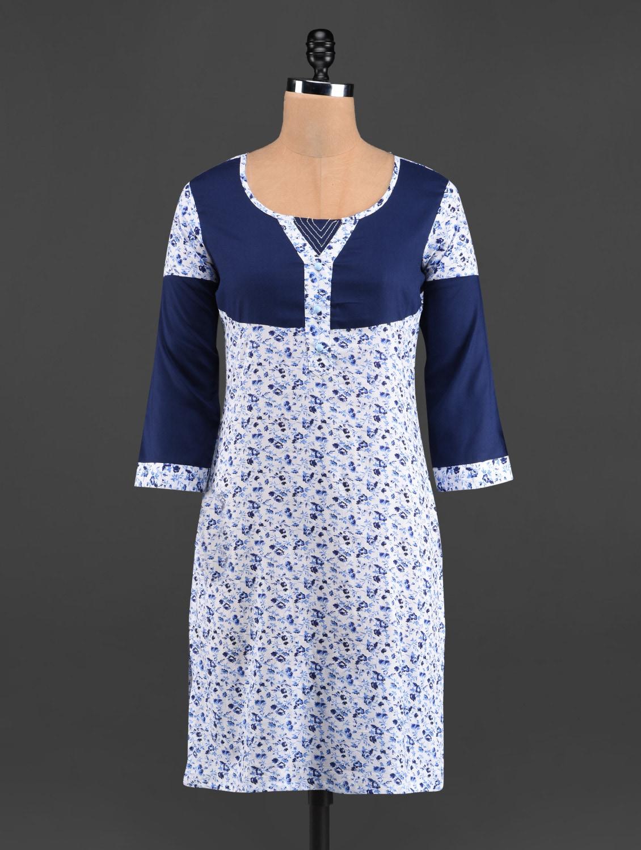 Navy Blue & White Printed Cotton Kurti - LINGRA