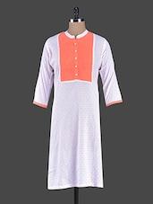 White Printed Cotton Kurta With Pin-tuck Yoke - Bhama Couture