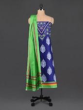 Ethnic Motif Printed Blue Cotton Suit Set - DFOLKS