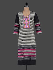 Geometric Print Quarter Sleeve Cotton Kurta - Inara Robes