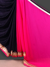 Black & Pink Half & Half Saree - FABIONA