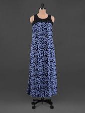 Printed Round Neck Crepe Maxi Dress - Queens