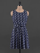Butterfly Printed Round Neck Rayon Dress - Queens