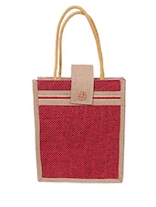 Zipper Closure Velcro Flap Red Jute Bag - Womaniya