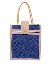 Zipper Closure Velcro Flap Jute Bag - Womaniya