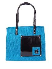 Zipper Closure Patch Pocket Blue Jute Bag - Womaniya