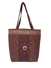 Geometric Woven Work Brown Jute Handbag - Womaniya