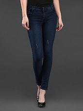 Blue Plain Solid Cotton Lycra Jeans - Dashy Club