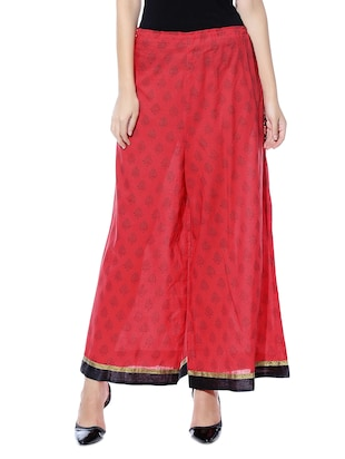 Red printed cotton palazzos