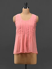 Light Pink Pleated Sheer Georgette Top - Trend Arrest