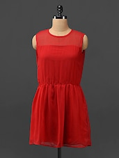 Red Sheer Yoke Georgette Dress - Trend Arrest