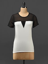 Color Block Sheer Yoke Polyester Top - Trend Arrest