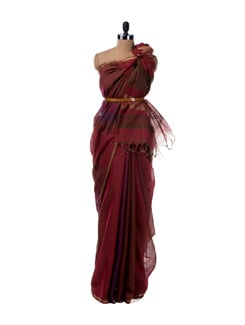 Multi Hued South Cotton Saree In Shades Of Brown, Purple And Maroon - Saboo