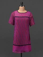 Round Neck Striped Georgette Tunic - MOTIF