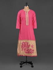 Thread Embroidered Pink & Beige Cotton Kurta - Adaa