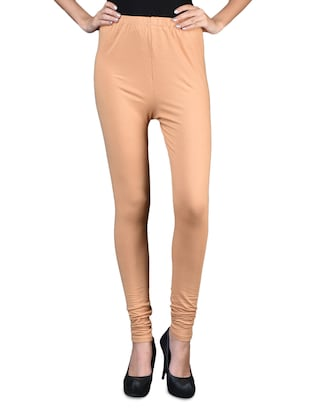 Solid beige cotton lycra leggings