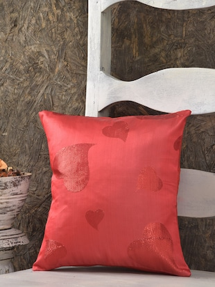 Embroidered Heart Red Silk Cushion Cover