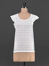 Ruffled Sleeve Round Neck Lace Top - OSHEA