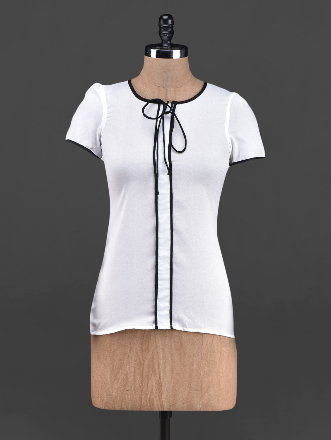 Round Neck Short Sleeve Georgette Top - OSHEA