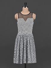 Sheer Back Chevron Print Dress - OSHEA