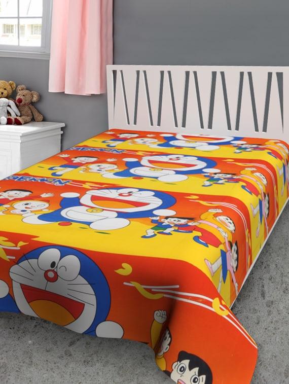 Doraemon Yellow Print Reversible Single Dohar - Furry