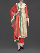 Beige Lace Top Palazzo Salwar Suit Set - Libas