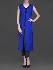 Solid Blue Black Border Suit With Parallel Salwar - Libas