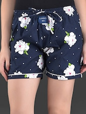 Navy Blue Floral Print Cotton Shorts - London Bee