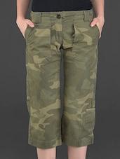 Olive Printed Knee-length Cotton Pants - London Bee