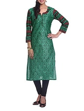 Ethnic Printed Quarter Sleeve Green Kurta - By
