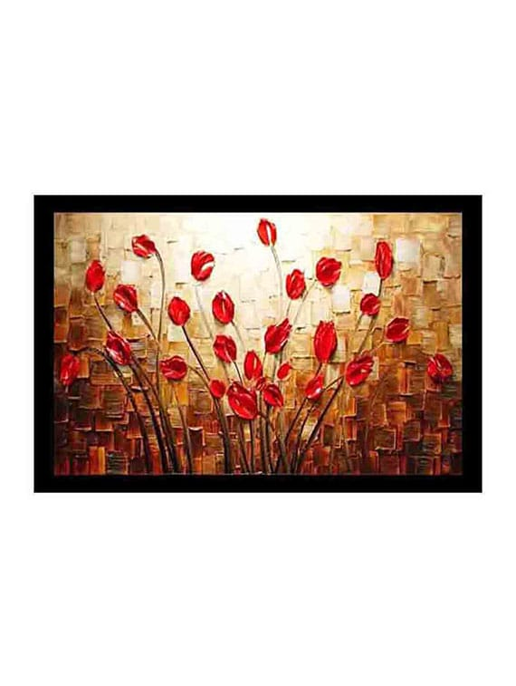Red Acrylic Painting - By