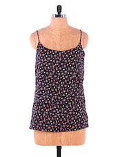 Black Floral Printed Cotton Sleeveless Top - VICTORIAN CLOTHING