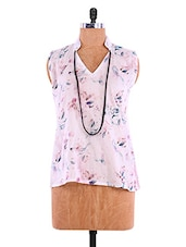 Pastel Pink Cotton Printed Sleeveless Top - By