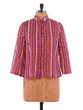 Red And Pink Printed Georgette Top - VICTORIAN CLOTHING