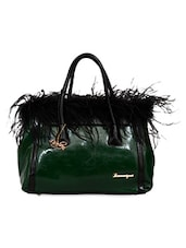 Green Leatherette Feather Inspired Handbag - By