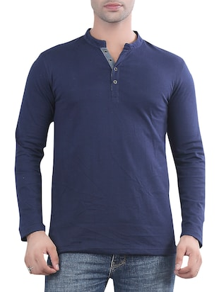 solid navy blue cotton t-shirt