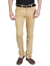 beige cotton chinos -  online shopping for Casual Trousers
