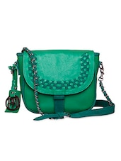 Textured Green Leather Sling Bag - Phive Rivers