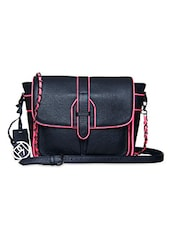 Black Pure Leather Sling Bag - Phive Rivers