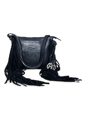 Black Leather Fringed Sling Bag - Phive Rivers